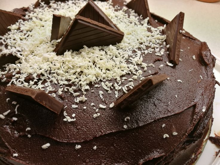 Enjoy this truly sinful Devil's Food Cake. With a lovely white chocolate cream in the centre and a dark chocolate frosting on the outside. An adult #treat on #halloween #chocolate #cream #darkchocolate