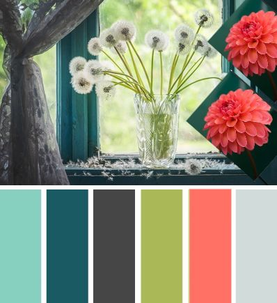 Gray Teal Olive Coral Color Scheme