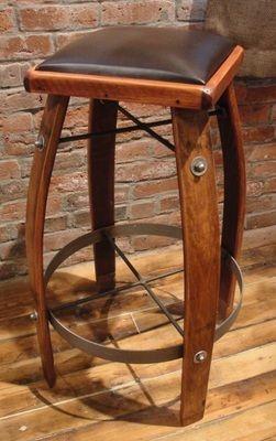 Pura Vida Home Decor - Wine barrel stool chocolate leather, $220.00 (http://stores.puravidahomedecor.com/wine-barrel-stool-chocolate-leather/)