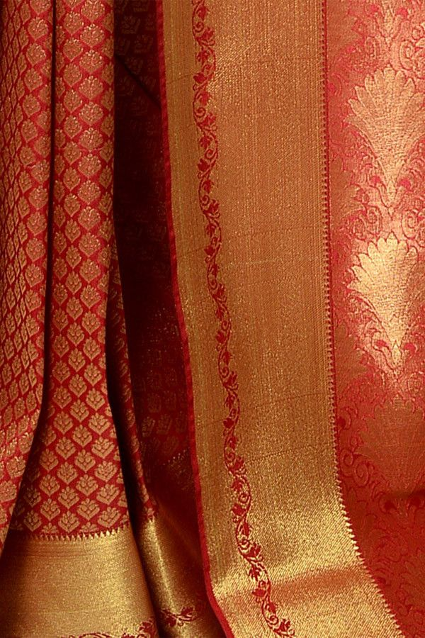 Lipstick Red Kanjivaram Silk Saree | Indofash Ethnic