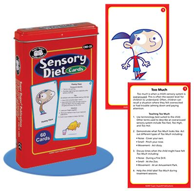 Super Duper's Sensory Diet Cards teach children to regulate their sensory system. #superduperinc