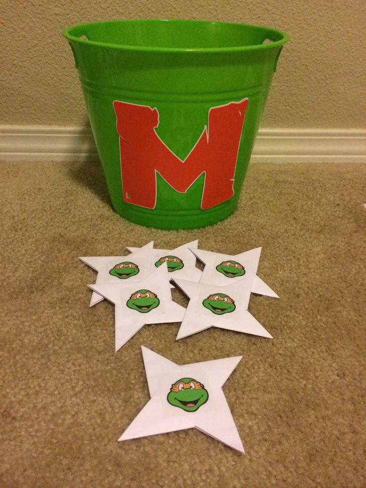 Ninja star toss game....had Michaelangelo and Leonardo, with two teams and whoever got the most stars in the bucket, won a prize