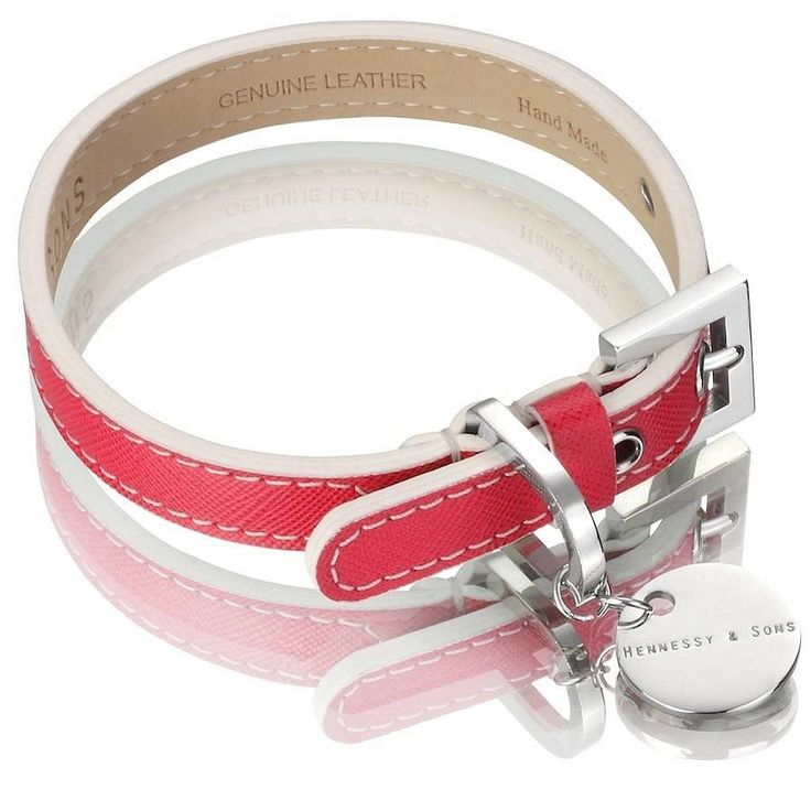 H&S Saffiano Hand Made Leather Dog Collar in Fuschia Pink...
