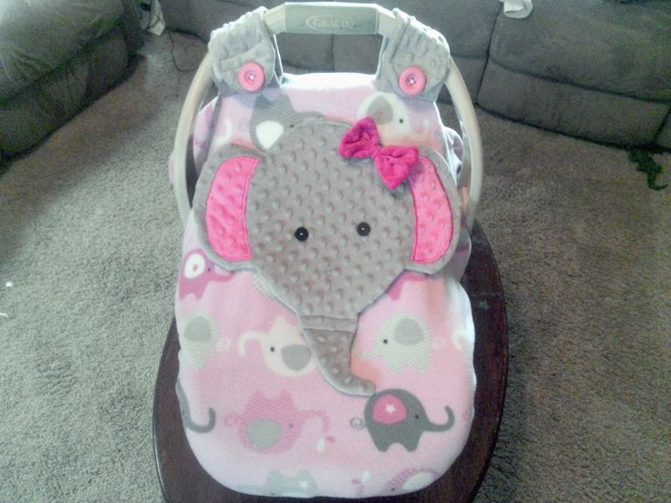 Girls Appliqued Fitted Elephant Car Seat Canopy With Peek