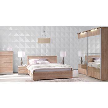 Set Dormitor Nebraska II complet modern, de culoarea stejarului, confectionat din pal melaminat mat