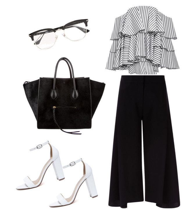 """Smart Black n White"" by citrarizkiamalia on Polyvore featuring Caroline Constas, Victoria, Victoria Beckham, CÉLINE, My Delicious and Persol"