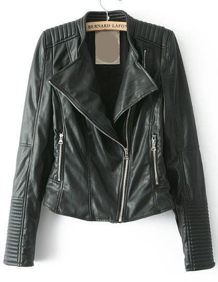 Oblique Zipper Crop PU Jacket 36.67