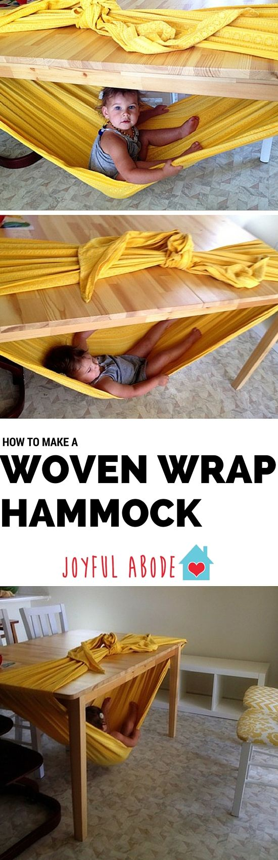 How to make a woven wrap hammock - tons of indoor rainy-day fun. Great kids' activity. (made with a woven babywearing wrap, not a blanket)