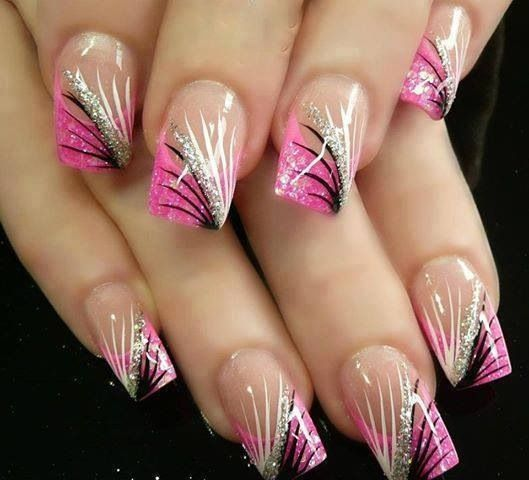 Pink and silver line design