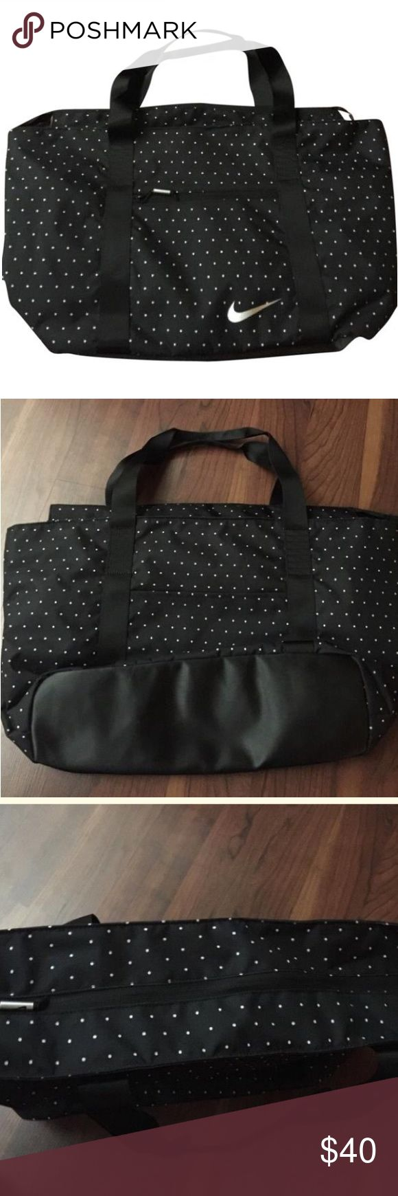 "🌹 Nike Tote 💰price drop⤵️ 💰⤵️ Multi functional, lightweight and practical Nike Tote with a built in laptop bag and mesh like slots for safe keeping of any beverage from spilling. Exterior has a pocket on both sides of bag. Straps Sits perfectly on shoulder with or without a coat/ jacket on.  This is the ideal ""carryall"" 🌹 Nike Bags Totes"