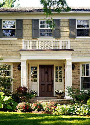 .: Colors Combos, Shutters Colors, Brown Doors, Exterior Colors, Front Entrance, Brown Houses Exterior, Brown Front Doors, Entry Colors, Front Porches
