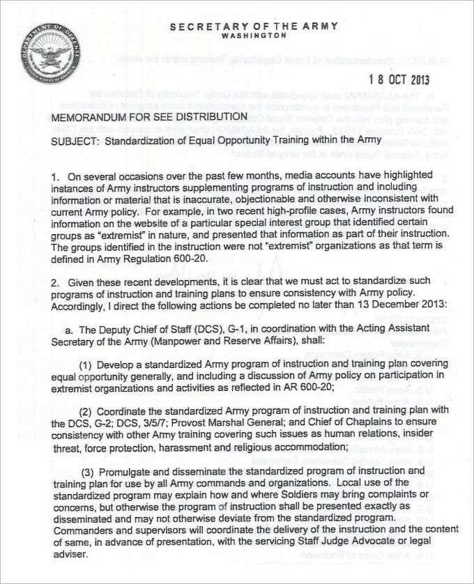 Army Memorandum Template 5 Memorandum Template Memo Template Memo Format