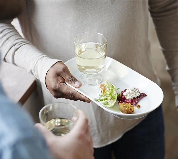 IKEA 365+ Wine glass. 30 cl. 702.783.63 Serving plate L31×W17 cm 702.783.96