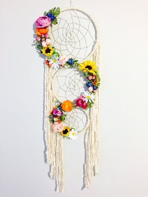 Große Traumfänger, Floral Dreamcatcher Boho Chic Dreamcatcher, Blume Traumfänger, Dreamcatcher Wandbehang, Gypsy Dreamcatcher