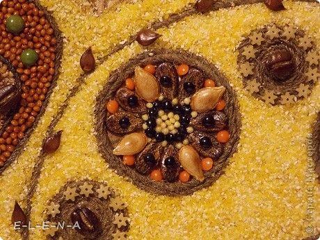 Картина панно рисунок Кухонное панно Крупа Семена Скорлупа яичная Шпагат фото 14