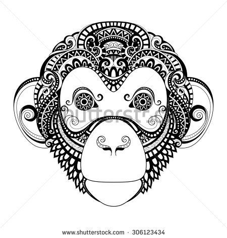 Ornate Monkey Head. Patterned Tribal Monochrome Design. Symbol of the Year 2016 by Chinese Horoscope