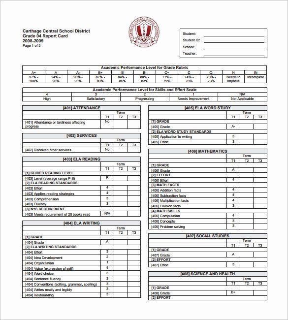 Printable Report Card Template Inspirational 14 Progress Report Card Templates Word Pdf Docs P Report Card Template School Report Card Progress Report Template