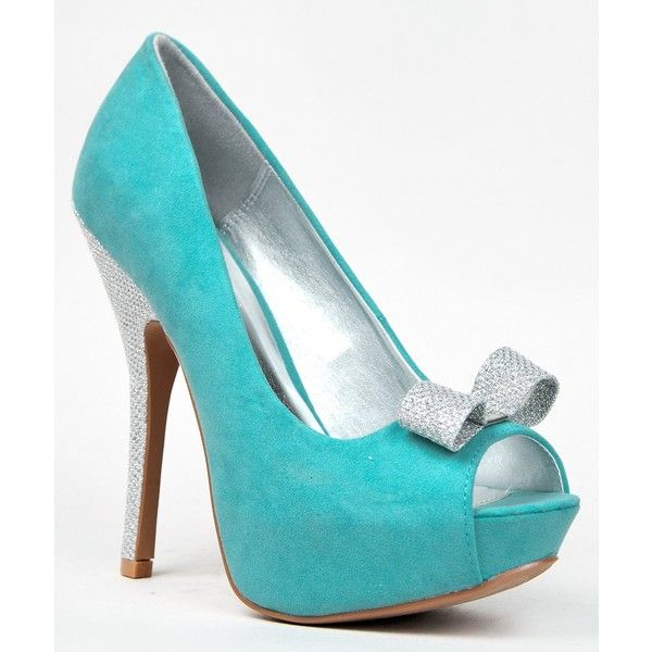 Qupid Onyx-139 Peep Toe Bow Tip Glitter High Heel Party Platform... ($39) ❤ liked on Polyvore featuring shoes, flat shoes, high heel platform shoes, qupid shoes, high heel shoes and wedges shoes