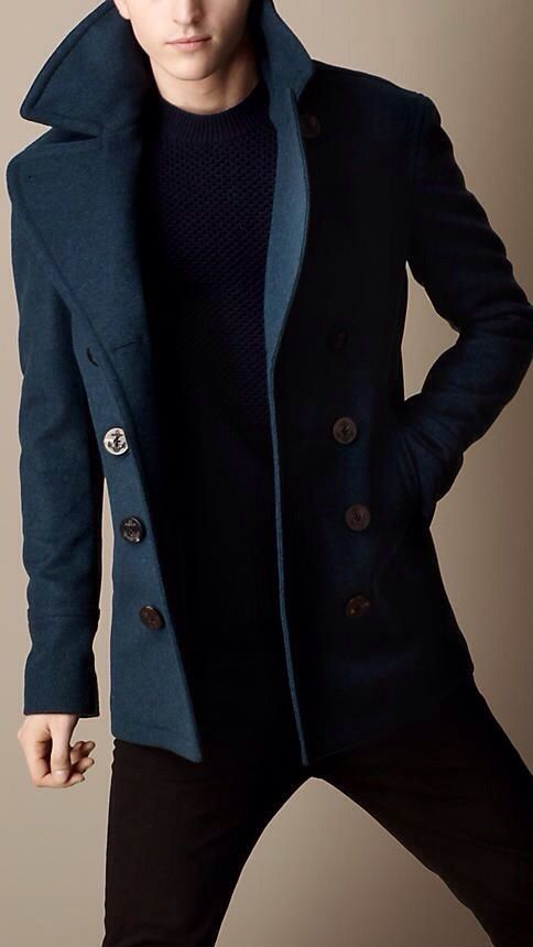 Men's Fashion. A perfect, tailored navy coat can be dressed up or rocked with your favorite sneakers. I would love to have something like this!