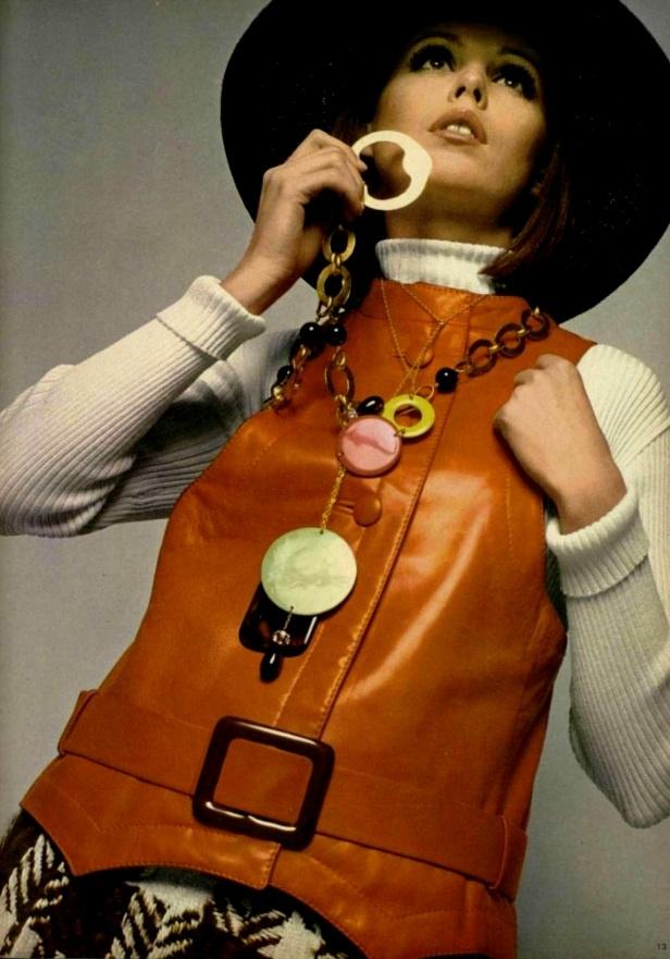 1960's fashion orange leather vest  lanvin 1968