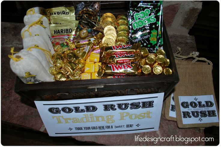 """Gold Rush Trading Post..The CUTEST idea for bday party or just an activity. Spray paint rocks gold and hide them all over the yard. Then have the little ones hunt for gold. When they're done have the """"gold rush trading post"""" where they can trade their lute for goodies. So cute!"""