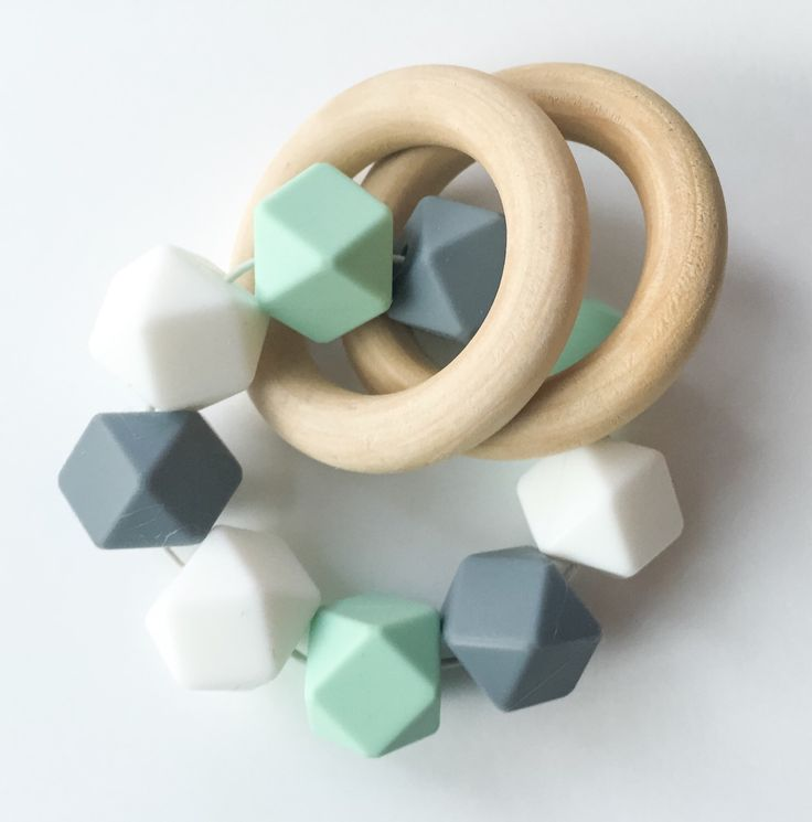 Wooden Teethers Infant Rattles Silicone Teether Silicone Rattle Double Ring Teether Silicone Bead Teether Mint Teether Baby Teether White Te by FeltmanAndCo on Etsy https://www.etsy.com/listing/259784713/wooden-teethers-infant-rattles-silicone