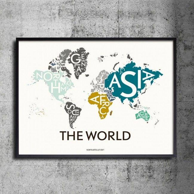 Bestel de mooie Kortkartellet Wereld poster 50 x 70 cm bij Pogo-designshop.n;