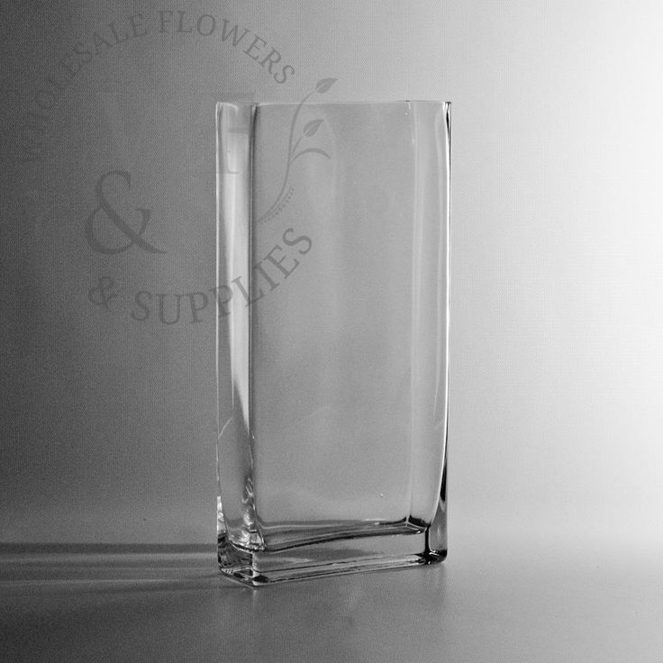 """12"""" Tall Thin Rectangle Vase - Discount Wholesale Vases and Containers - Wholesale Flowers and Supplies"""