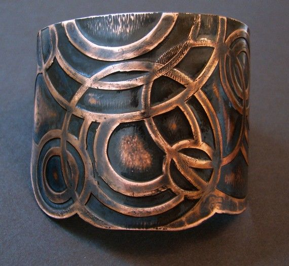 Etched Copper Cuff . Constellation - handmade jewelry