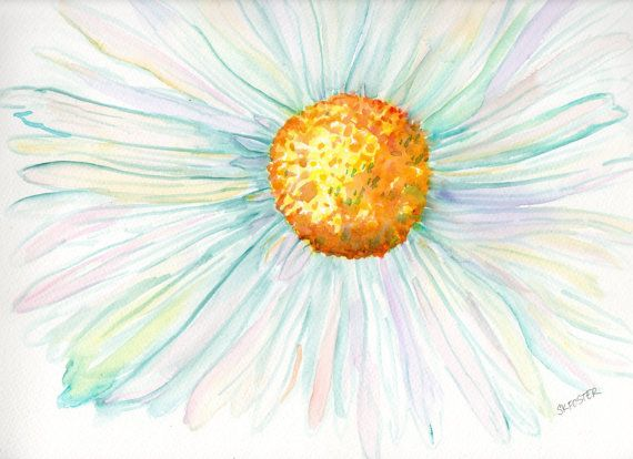 White Daisy Watercolor painting 11 x 14 by SharonFosterArt on Etsy, $45.00