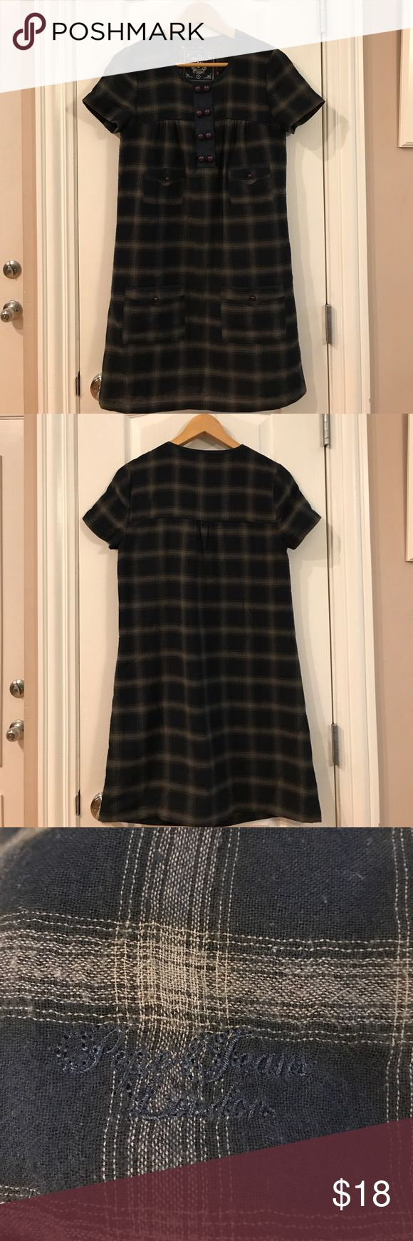 Pepe Jeans London Dress/Tunic Size S Navy Blue and Dark Grey dress or top; great over tight jeans or leggings. Satin liner. Used condition but no tear or stain. Size Small. Tops Tunics