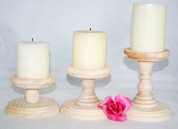 Smaller Unfinished Wood Pillar Candlestick Holders by ToyingAround
