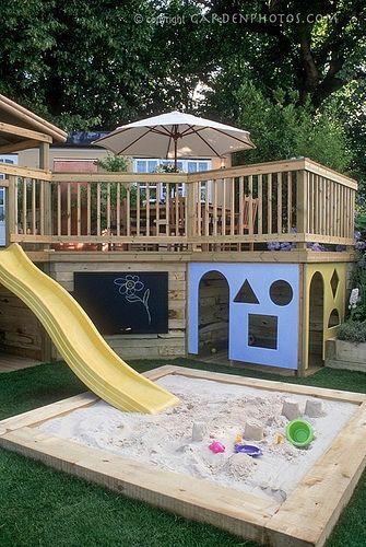 Cool idea for a sandbox!: Spaces, Playground, For Kids, Playhouses, Under Decks, Sandbox, Backyard, Plays Area, Great Ideas