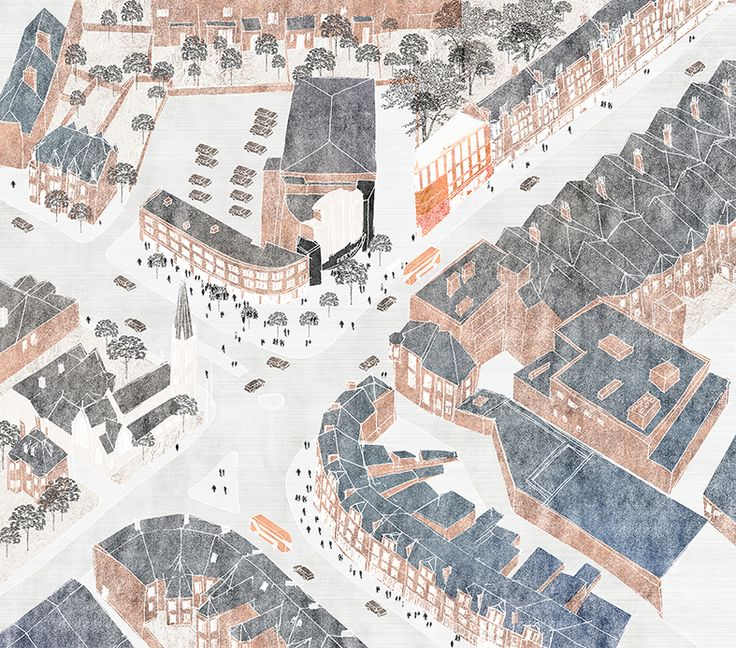 Bird's eye view of Muswell Hill for Sir John Cass School of Architecture. Drawing by Anna Pizova