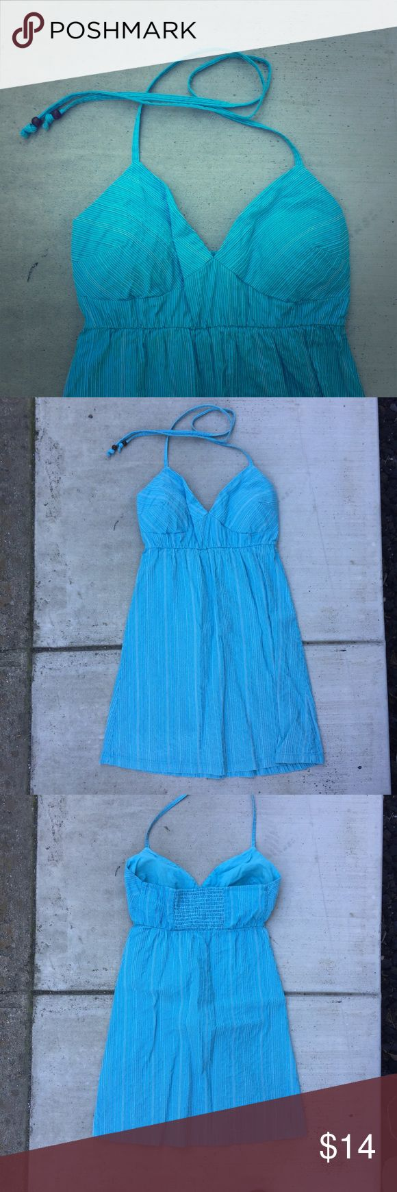 Halter sundress Super cute! Wooden beads on ties. Light/ modesty padding cups in so you can wear it comfortably without a bra. Mossimo Supply Co. Dresses Mini