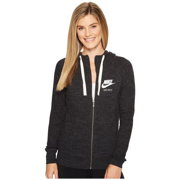 Nike Sportswear Full-Zip Hoodie (Black/Sail) Women's Sweatshirt ($45) ❤ liked on Polyvore featuring tops, hoodies, nike top, full zip hoodie, oversized hoodie, hooded top and full zip hooded sweatshirt