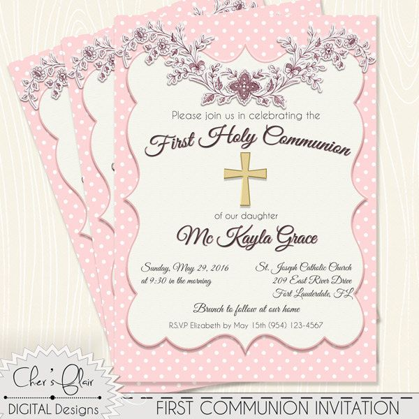 FIRST COMMUNION INVITE - First Holy Communion Invitation, Girl Communion, Holy Communion, Catholic Communion Invite, Communion Cross Invite by DigitalPackages on Etsy
