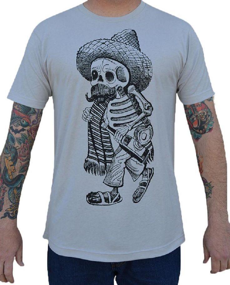 Men's Borracho Cowboy Mexican Skeleton Sombrero Tattoo Silver T-Shirt