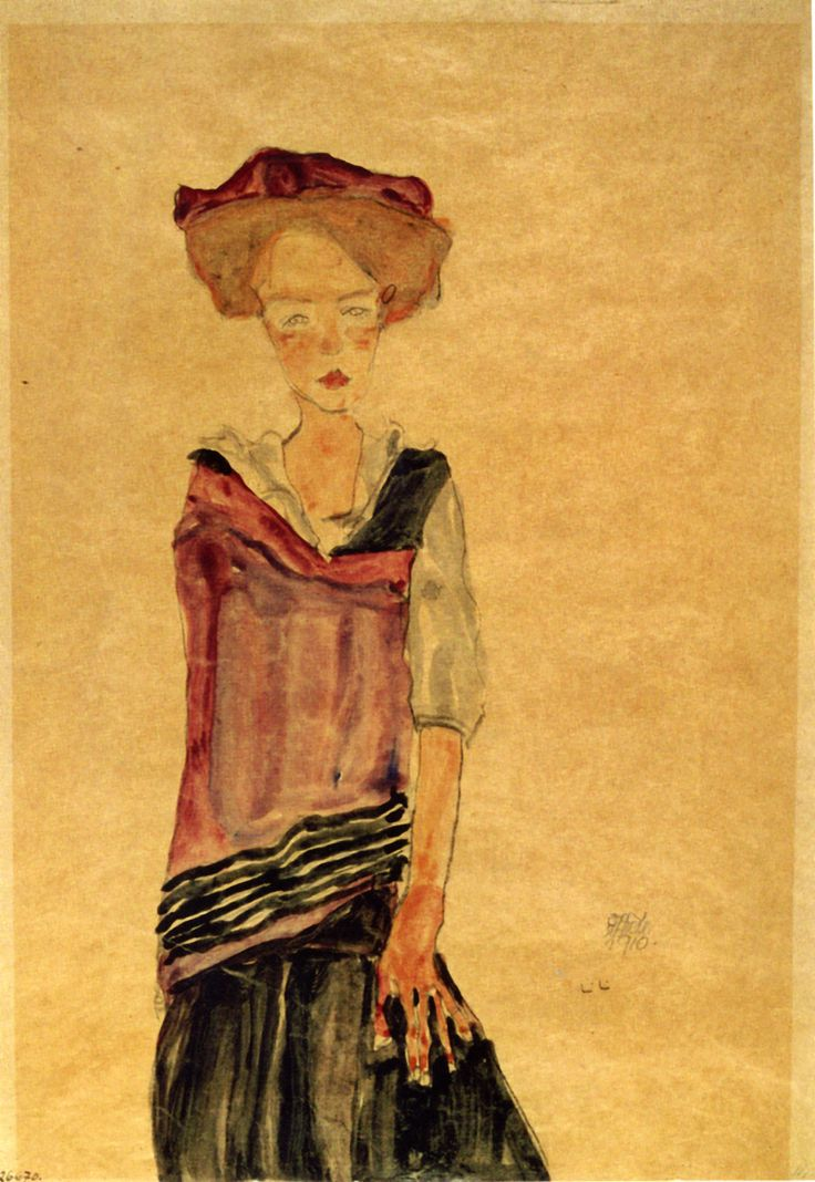 Fille debout  (1910) by  Schiele Egon - - Albertina - Vienne (nataliakoptseva:)