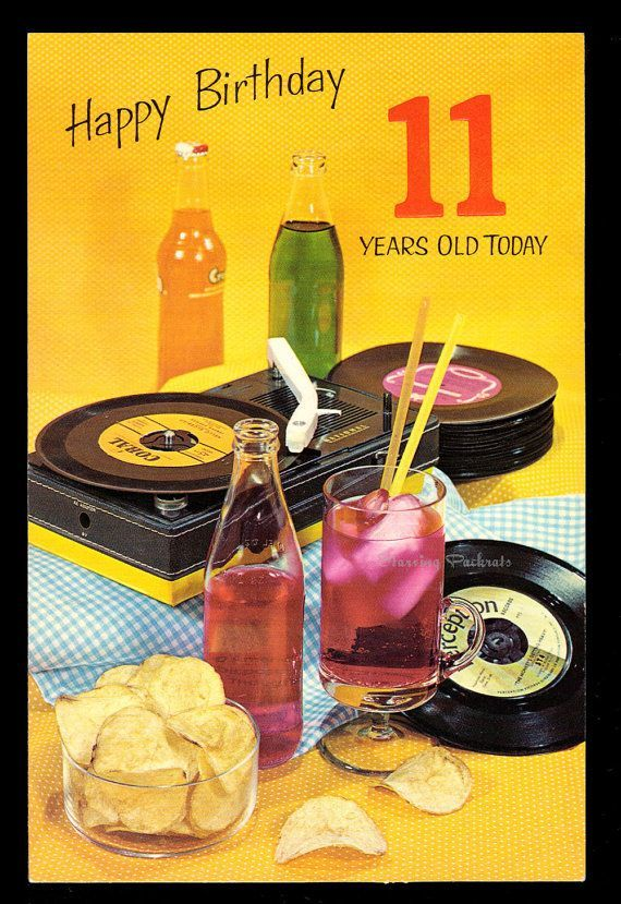 11 Year Old Vintage Birthday Card With 45 Records
