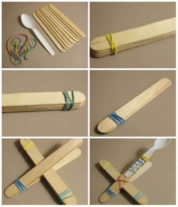 Catapulte. 14 idées d'activités avec des bâtonnets de glace qui vont ravir vos enfants