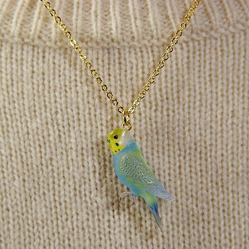 budgie bird Pendant & Necklace  budgerigar  by PetitMaterial