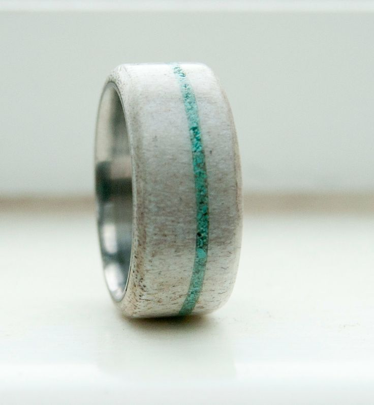 Antler and Turquoise Mens wedding band Titanium by StagHeadDesigns, $240.00