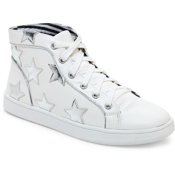 Betsey Johnson White Flo Star-Appliqué High Top Sneakers ($40) ❤ liked on Polyvore featuring shoes, sneakers, white, leather high tops, white lace up sneakers, lace up sneakers, white leather shoes and white shoes