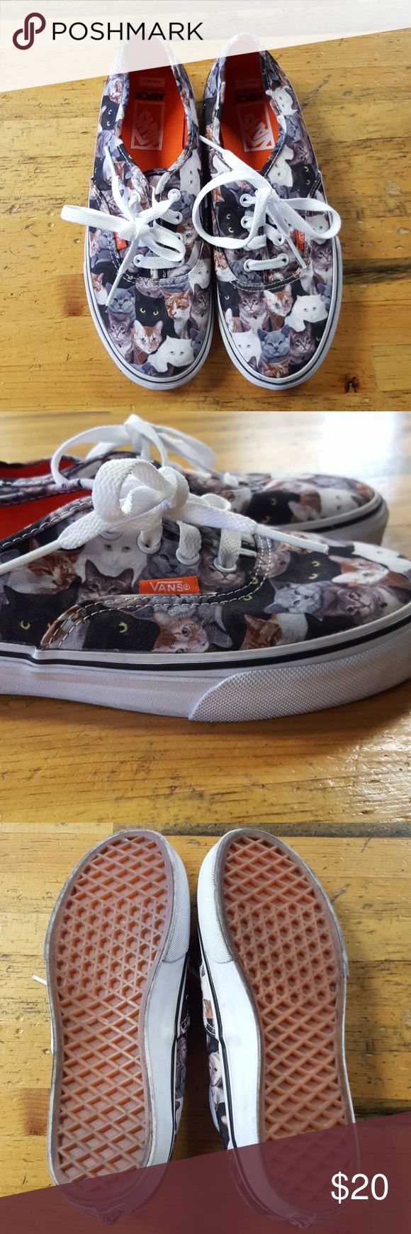 Cat Vans ASPCA Super cute Vans featuring our favorite YouTube animal. Great conditon. Bottoms and outside of heels have some signs of wear as shown above. These are a kid's 3.5 or 5.5 in adult. Vans Shoes Sneakers