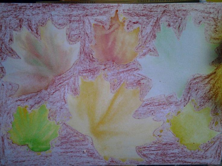 Необычное рисование с детками - рисуем осенние листья.