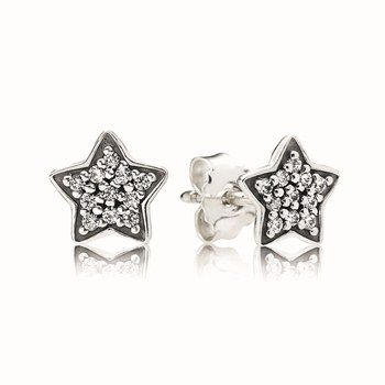 PANDORA sterling silver star stud earrings with cubic zirconia $69