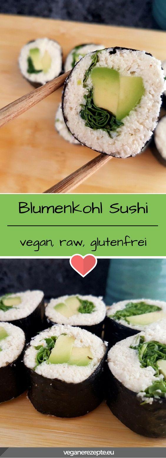 Lust auf Low Carb und mehr Gemüse? Dann probiert mal dieses Blumenkohl Sushi aus. #raw #rohvegan #vegan #cauliflower #sushi #blumenkohl #glutenfrei #lowcarb