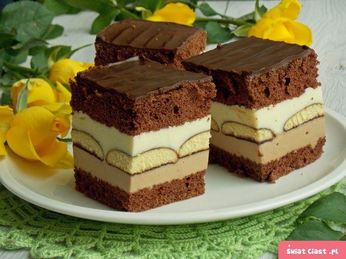 Mleczne ciasto z czekoladą i biszkoptami - Swiatciast.pl