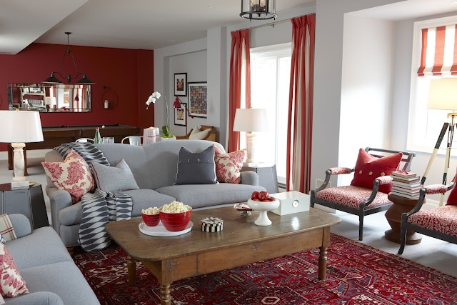 Great mixture of cool grey and warm red: Sarah Richardson, Living Rooms, Red, Rec Room, Livingroom, Basement, Family Room